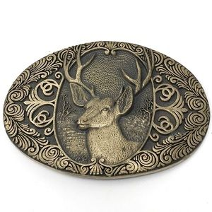 VTG Deer Buck Brass Award Design Medals Buckle